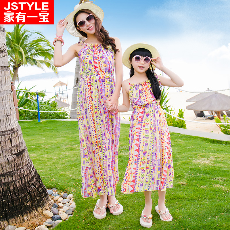 Mother Daughter Dresses Matching Mother Daughter Clothes Family Matching Clothes Mae Filha Plus Size Holiday Chiffon Dresses 2016 family matching ourfit paternity vacation holiday beach dress chiffon skirt mother daughter lady girls short sleeve dresses