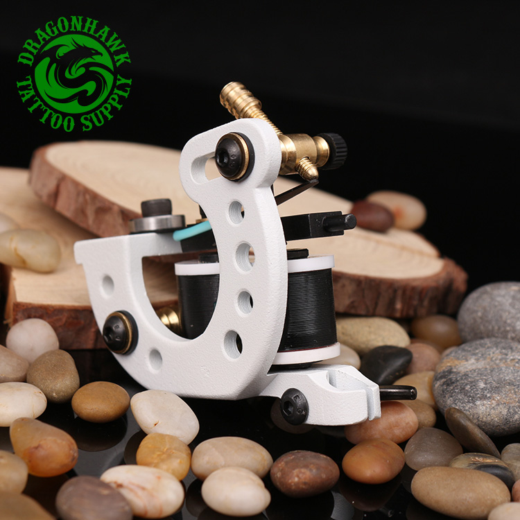 Professional Wire Cutting Tattoo Machine 10 Wraps Coil Tattoo Gun For Shader And Liner White Color Handmade Tattoo Machine top quality customs handmade tattoo machine kit 10 wraps coil zinc alloy machine for liner and shader free shipping tm 1114