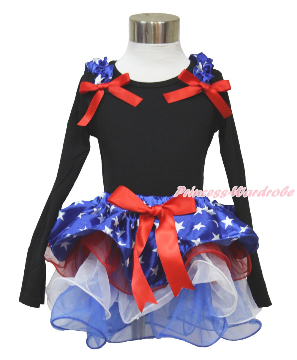 4th July Ruffle Bow Black Long Sleeves Top Patriotic Star Red White Petal Pettiskirt NB-8Year MAMH228 4th july america flag style stripe pettiskirt white ruffle tank top 2pc set 1 8year mamg1143