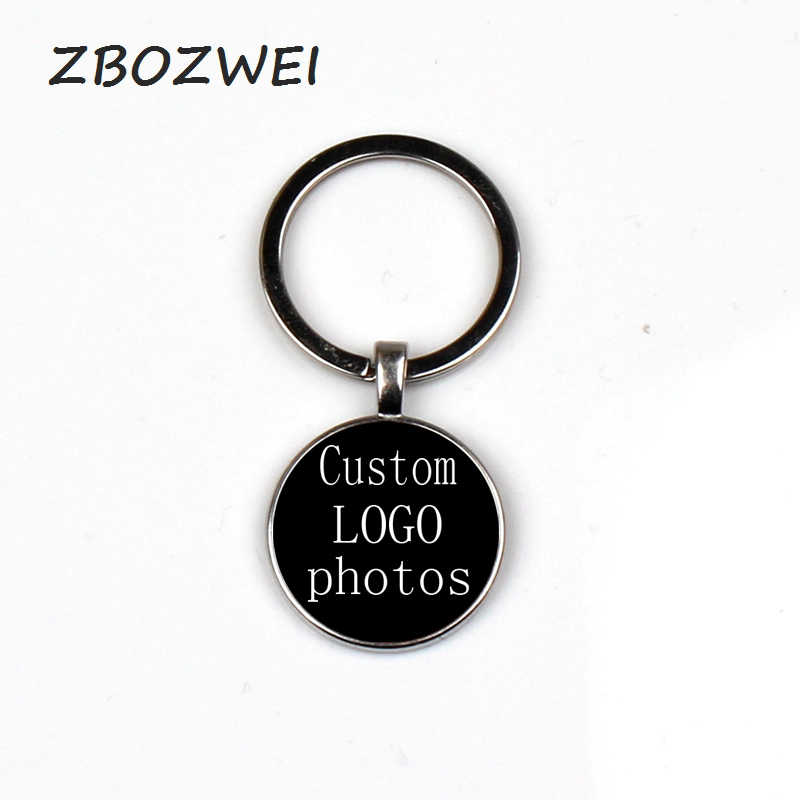 2019 new Corporate club LOGO Photo Batch Customized Glass Keychain Children's Gift Family Couples Commemorative Jewelry Handmade