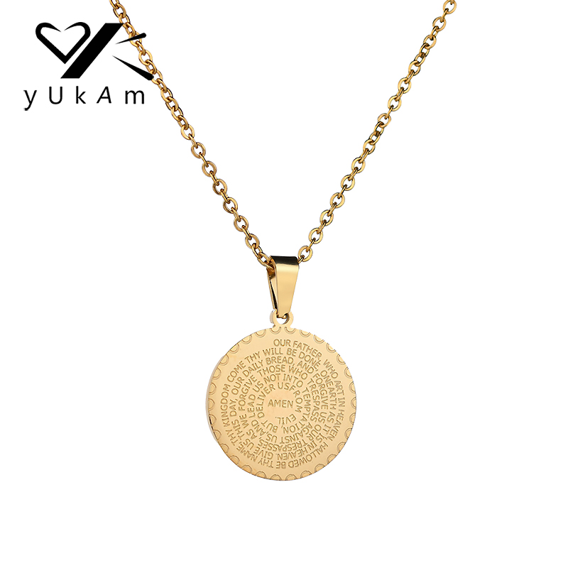 Yukam Jewelry Vintage Mens Gold Lucky Christian Scripture Pendant Necklaces Religious Stainless Steel Round Coin Necklaces Women Buy At The Price Of 2 36 In Aliexpress Com Imall Com