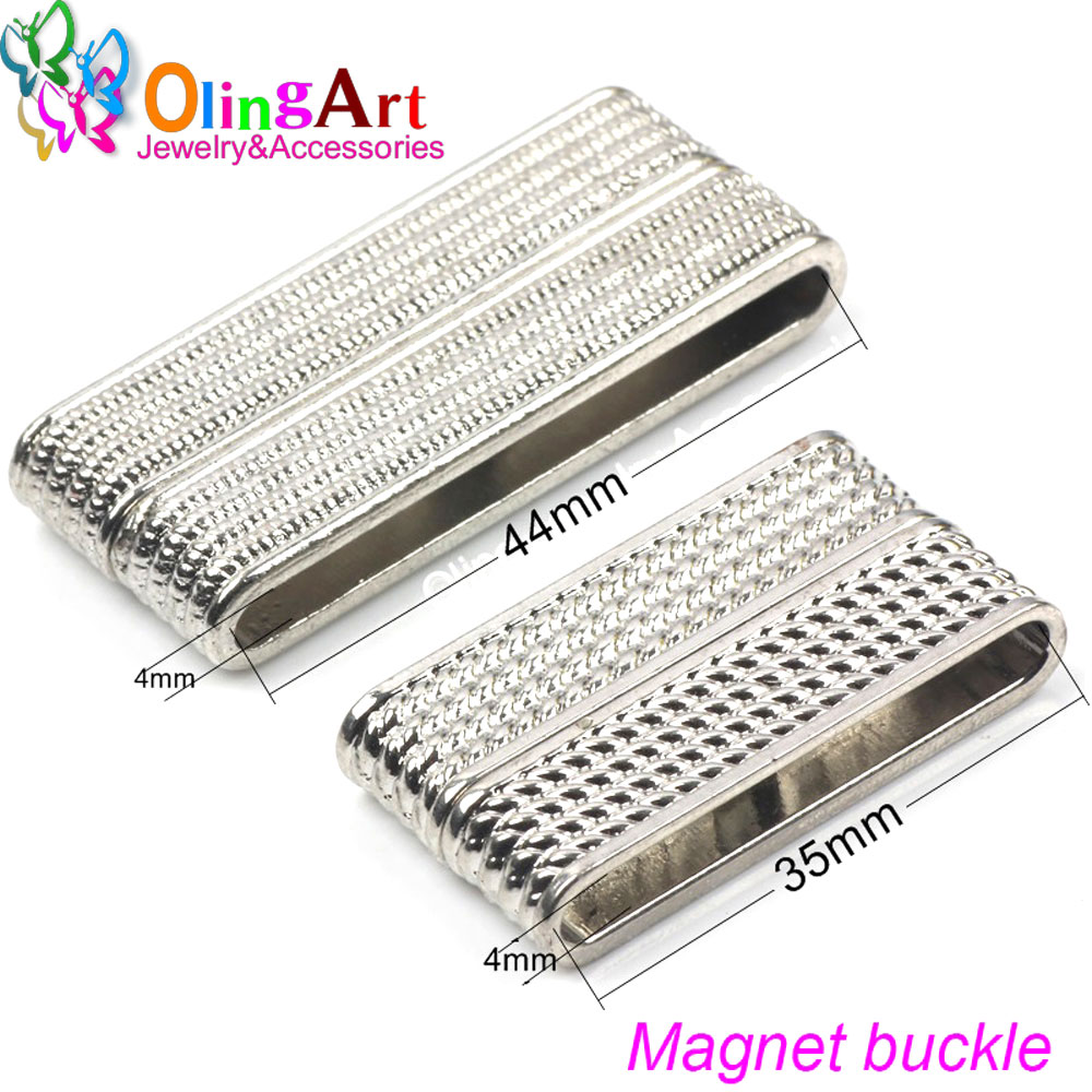 OlingArt 48/37/32MM 2pcs Magnetic Clasps Rectangle 2 Row Silver Plated Necklace Hook Fings Bails DIY Bracelet Jewelry Making