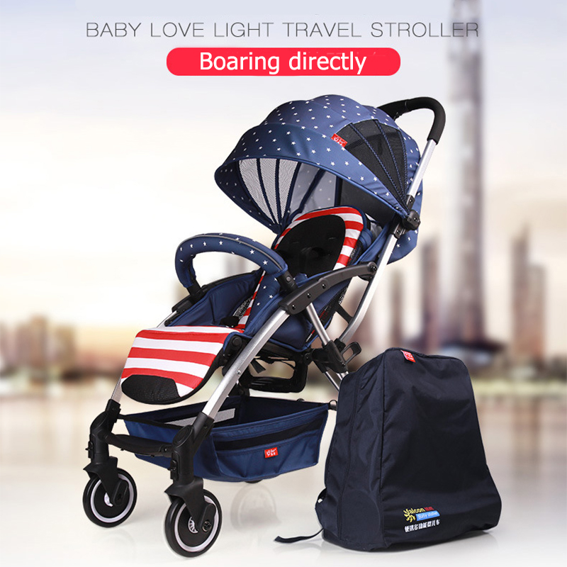 Newborn Baby Stroller  European High View Baby Car Can Sit and  Lie Super Light Folding Umbrella caets Can be on plane Baby Car light foldable baby stroller 3 in 1 cozy can sit and lie lathe umbrella car stroller carry bag 4 colour three wheels single seat