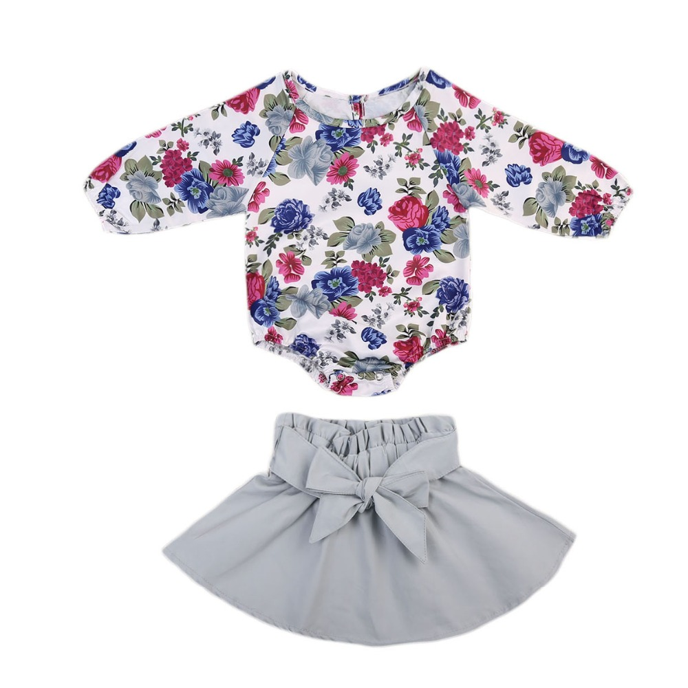 Newborn Girl Gift Set Floral Romper Tops + Skirts Little Girls Two Piece Outfits Long Sleeve Toddler & Infant Clothes 0-24M Wear 2017 brand new 3pcs set newborn toddler infant baby girl boy clothes romper long sleeve shirt tops pants hat santa candy outfits