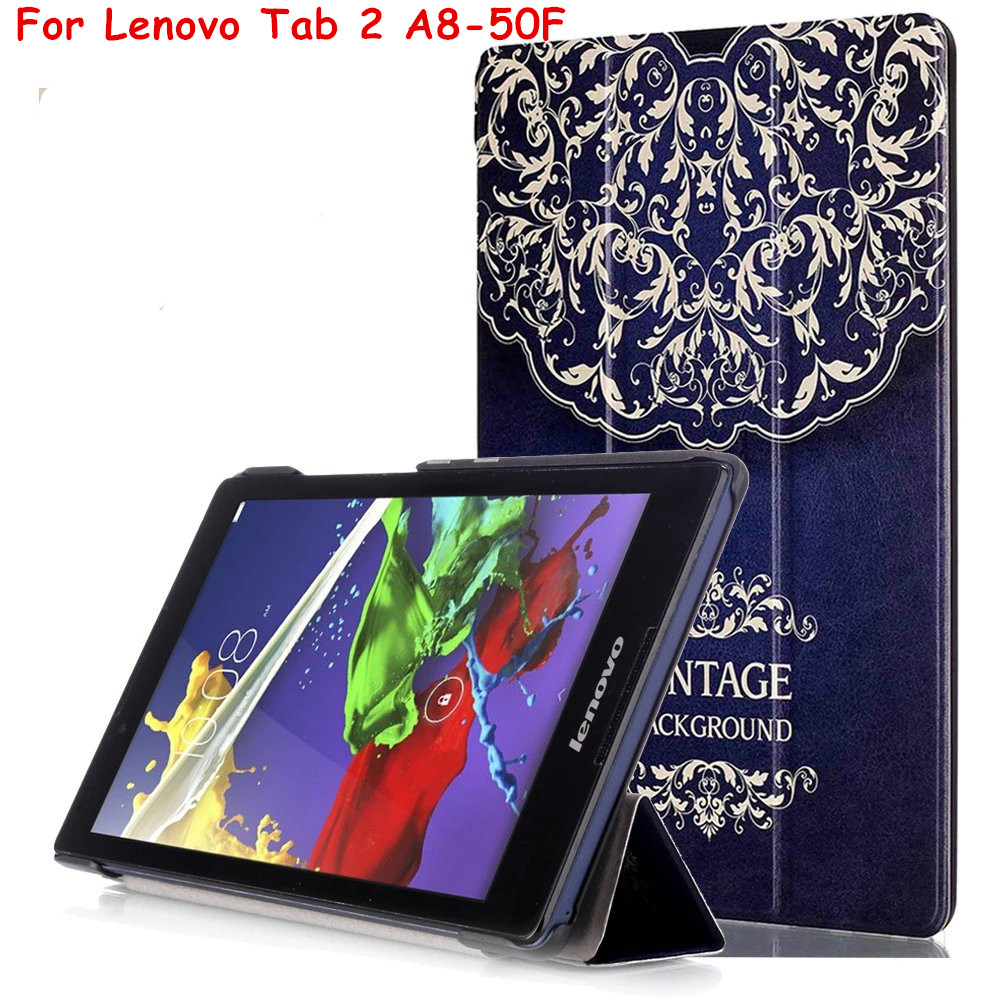 Magnet Smart Cover For Lenovo Tab 2 A8 Tab3-850m Tab2 A8-50F  8 Tablet Case PU Leather Case Flip Protective Cover 2017 new for lenovo tab2 a8 pu leather stand protective skin case for lenovo 8 inch tab 2 a8 50 a8 50f tablets cover film pen