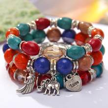 Bohemian Bracelet Femme Carved Love Feather Tassel Braceets for Women Jewelry Ethnic Vintage Bead Stone Charms Bangle(China)