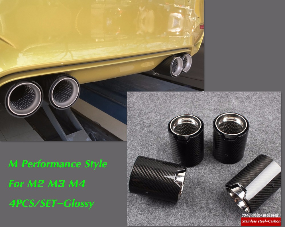 4pcs real carbon fiber exhaust tip for m performance exhaust pipe m3 f80 m4 f82 f83