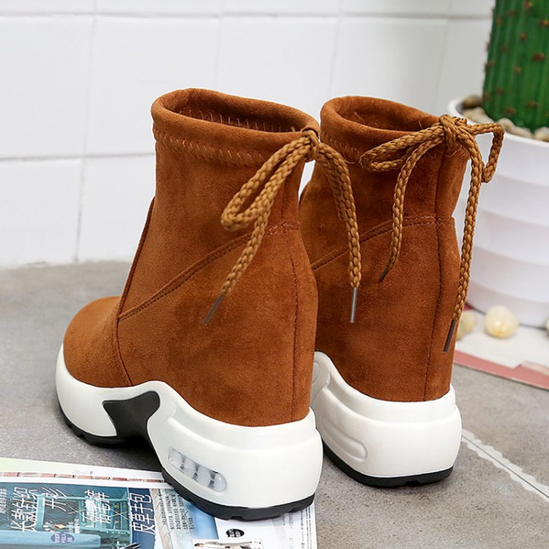 COOTELILI Fashion Increasing Shoes Women High Heels Ankle Boots For Women Autumn Winter Rubber Boots Women Pumps Ladies 35-39 (6)