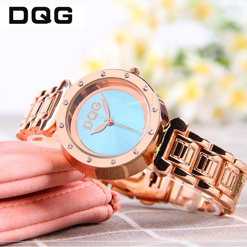 2018 DQG Rose Gold Rhinestone Watch Kvinders Quartz Watches Damer Top - Dameure - Foto 3