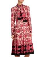 Spring Autumn Dress 2019 High Quality Women Runway Dresses Turn Down Collar Long Sleeve Printed Dress