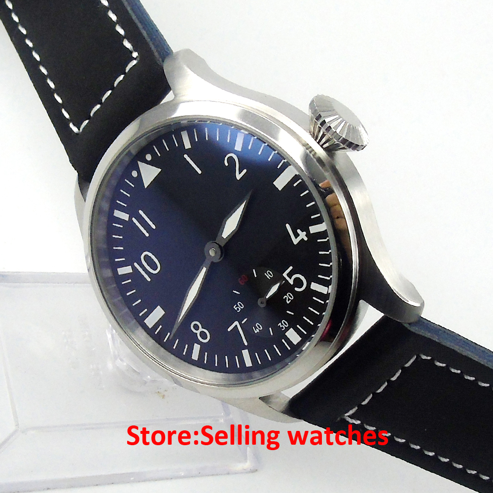 47mm PARNIS black dial 6 MECHANICAL hand winding Watch 6498 mens watch