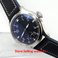 47mm PARNIS black dial @6 MECHANICAL hand winding Watch 6498 mens watch