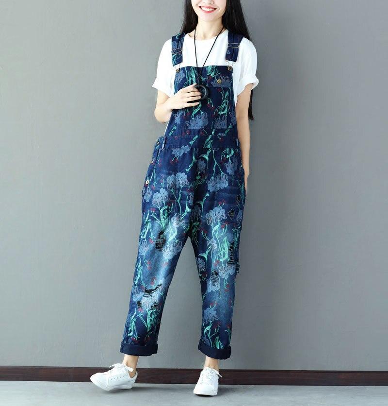 Women's Clothing Women Printed Holes Denim Jumpsuits Ladies Cute Printing Loose Denim Rompers Female Overalls Pants