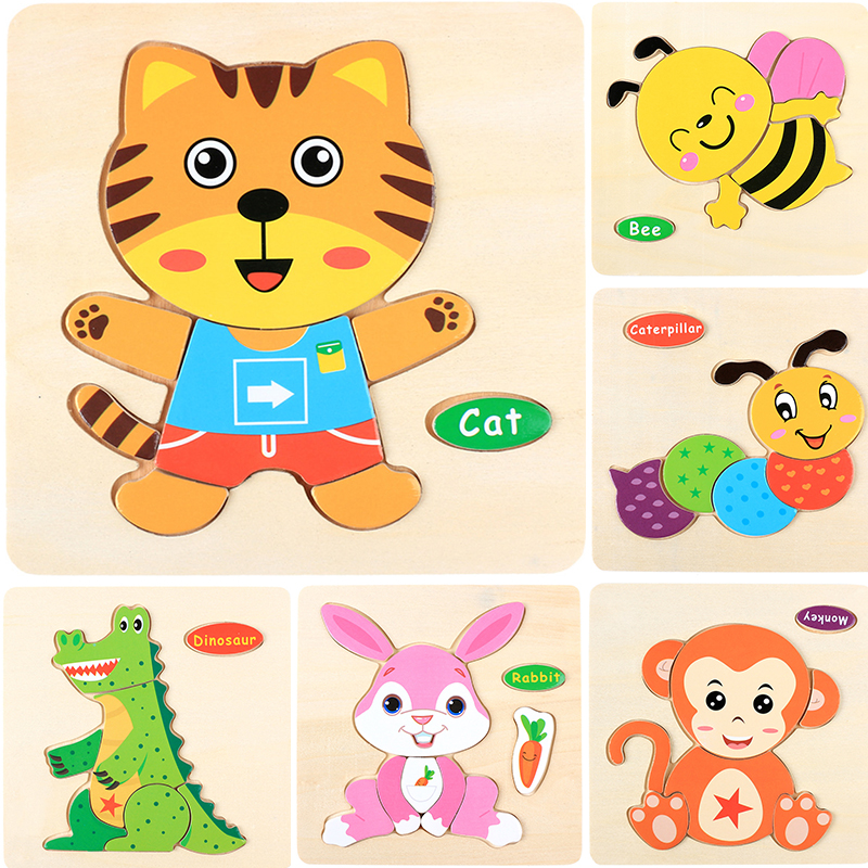 Puzzles Wood Montessori Baby Learning Toys Fruits Cartoon Animal Puzzles A014 Educational Games For Children Kids Wooden Puzzles