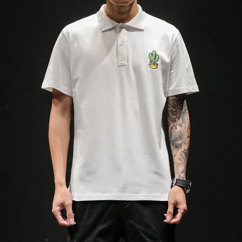 High Quality Men   Polo   Shirts 2019 New EU Popular   Polos   Fashion Short Sleeve Cactus Embroidery Design Summer Clothes M-5XL D887