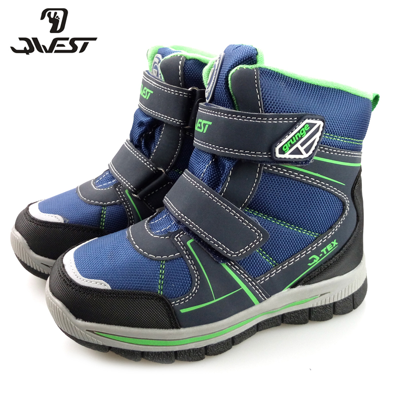 QWEST Warm Hook&Loop Snow Boots Boot High Quality Anti-slip Kid Shoe for Boys Size 31-36 82M-YC-1055 flamingo winter anti slip waterproof wool warm high quality kids shoes orthotic arch size 23 28 snow boots for girl 82m qk 0946