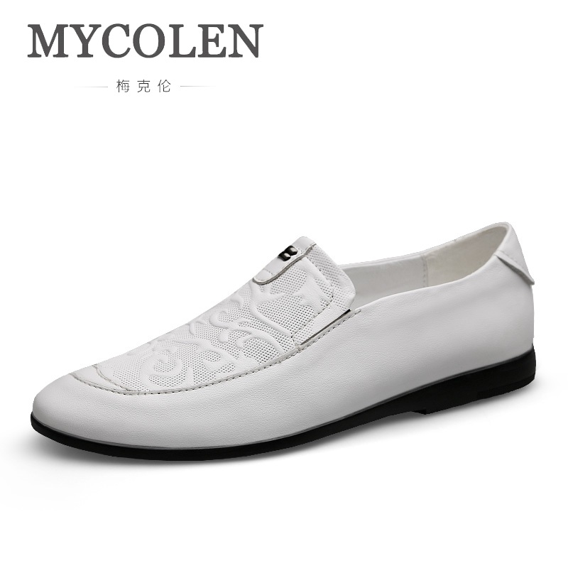 MYCOLEN Slip On Casual Men Loafers Spring And Autumn Mens Moccasins Shoes Luxury Fashion Genuine Leather Men'S Flats Shoes New mycolen new slip on casual men loafers spring and autumn moccasins mens shoes genuine leather men s shoes zapatos hombre