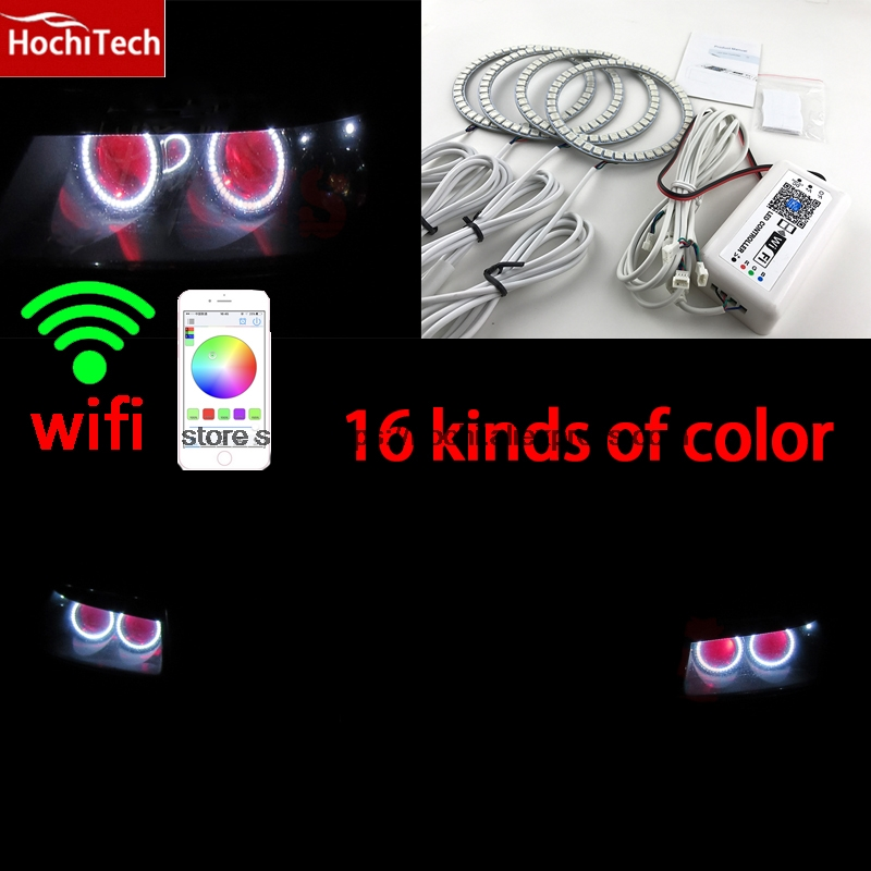 HochiTech Excellent RGB Multi-Color halo rings kit car styling for VWTouareg 2003 2004 2005 2006 angel eyes wifi remote control hochitech excellent rgb multi color halo rings kit car styling for volkswagen vw golf 5 mk5 03 09 angel eyes wifi remote control