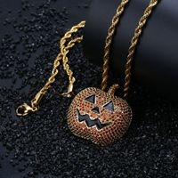 New Exquisite Europe Halloween Pumpkin Light Necklace For Men Women Iced Out Chain Zircon Color Pendant Necklace Jewelry Gift