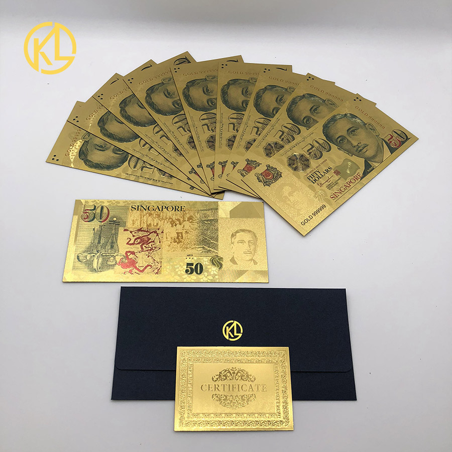 10pcs/lot 24k Gold Plated Colorful Gold Banknote USA 20