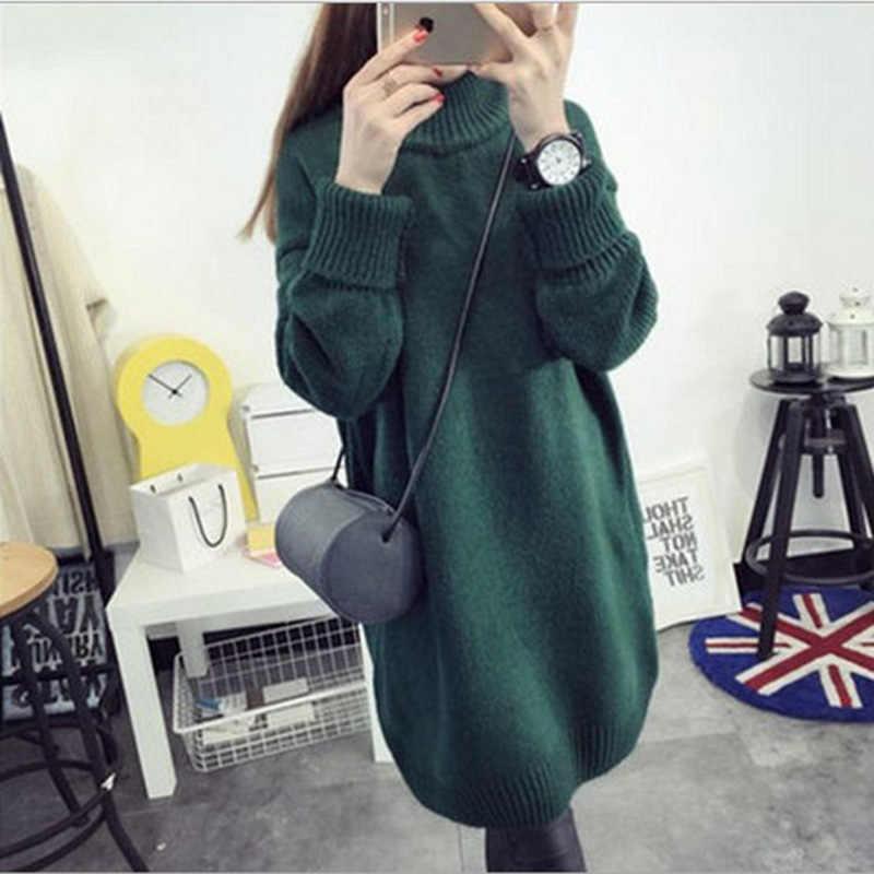 New Loose Long Half High Collar Thickening Bottoming Sweater Knitwear Khaki Dark Green Dark Gray Tibetan Wine Red Sweater Women