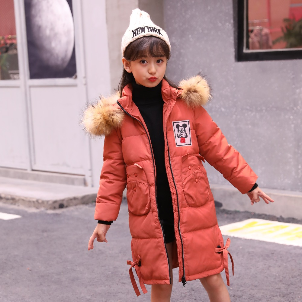 XYF6005 Girl Winter White Duck Down Coat Child Big Fur Collar Keep Warm Thick Hooded kids Jacket Long Outerwear Boys Windbreaker