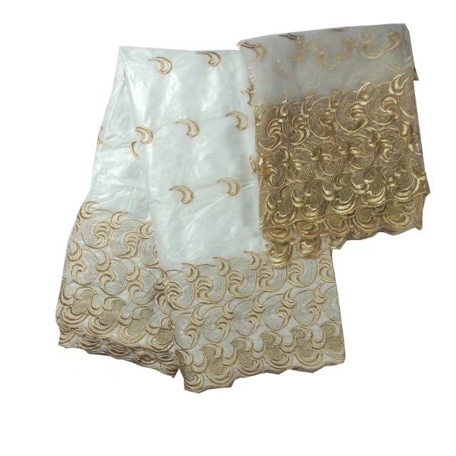 African Bazin Riche Lace Fabric For Nigerian Women Wedding Dress Indian white Guinea Embroidered Lace Material Give 2 yds tulle