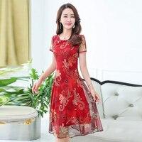 2018 New Tafforda Retro Summer Chiffon Dress Chinese Style Large Size M 5XL Short Sleeve Red Elegant Print Vintage Dress Female
