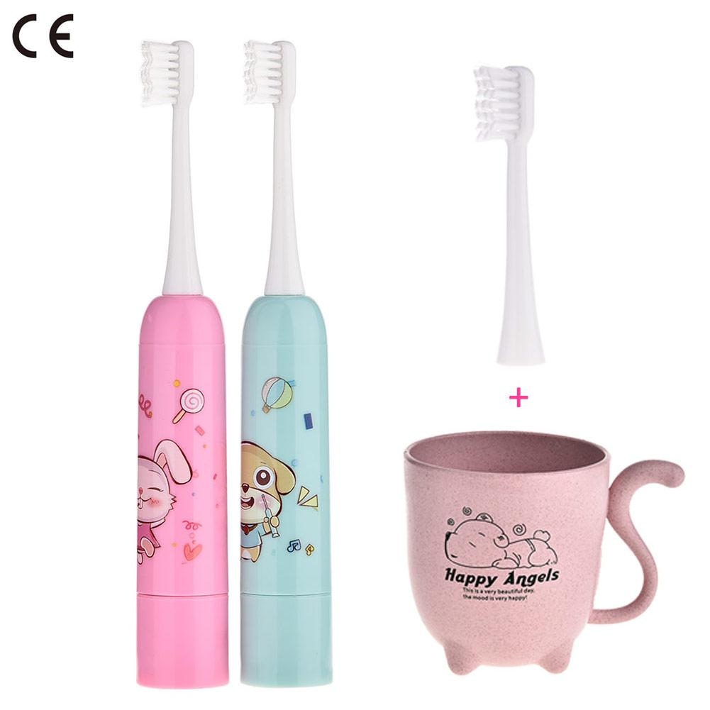 Children's Sonic Vibration Deep Cleaning Electric Toothbrush Baby Cute Cartoon Printing Dry Battery Training Toothbrush With Cup