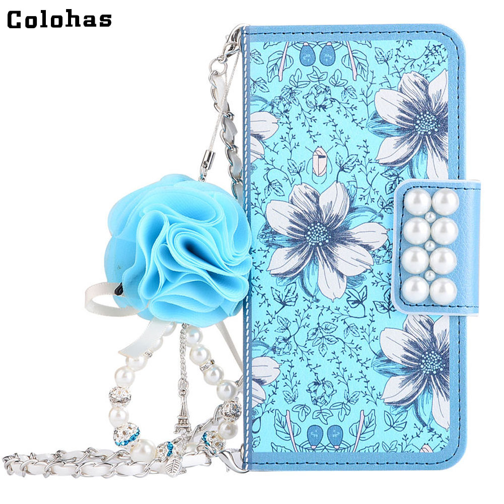Colohas Elegance Blue Floral Flower Pearl PU Leather Wallet Phone Housing Case Cover Bag for iPhone 5 5s SE 6 6S Plus 7 8 Plus