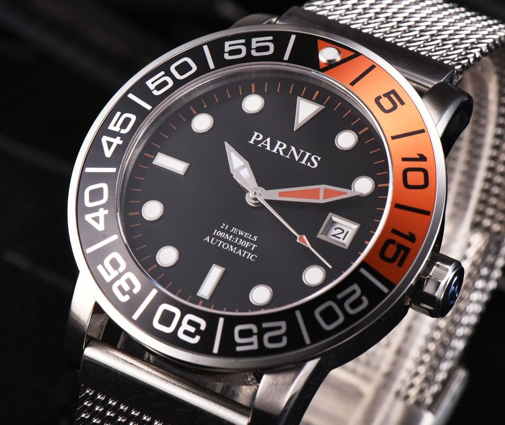 где купить Newest Parnis 42mm black dial luminous marks date window sapphire glass miyota Automatic movement Men's Mechanical Wristwatches по лучшей цене