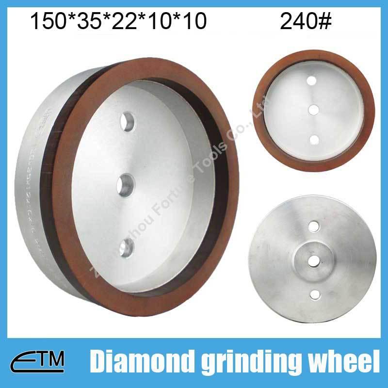 ФОТО 10pcs 4# full rim sintered resin bond diamond grinding wheel for glass strasighline edging machine150*35*22*10*10 grit240# BL047