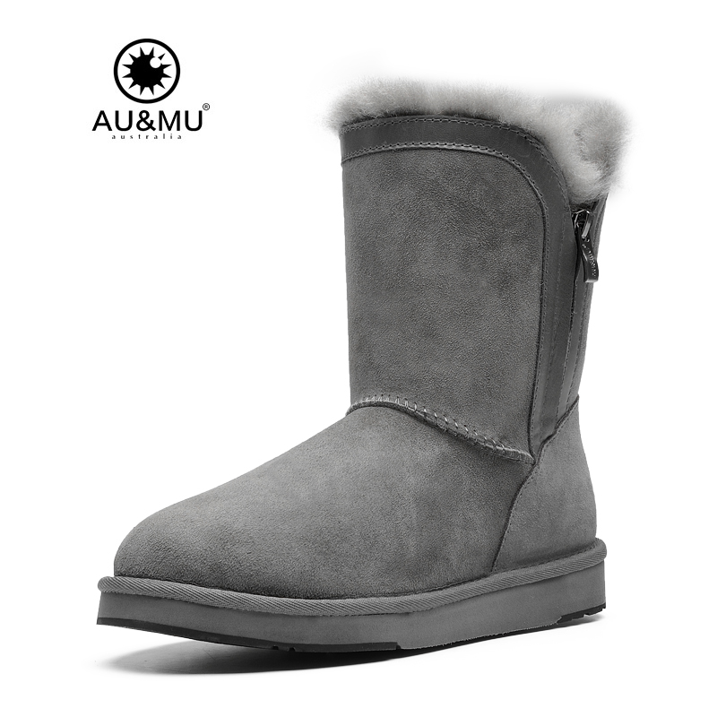 2018 AUMU Australia Suede Fur Flat Thick Platform Round Toe Rubber Soles Zipper Winter Snow Boots N391 2017 aumu australia comfort suede fur mid calf flat lace up round toe winter snow boots ug n728