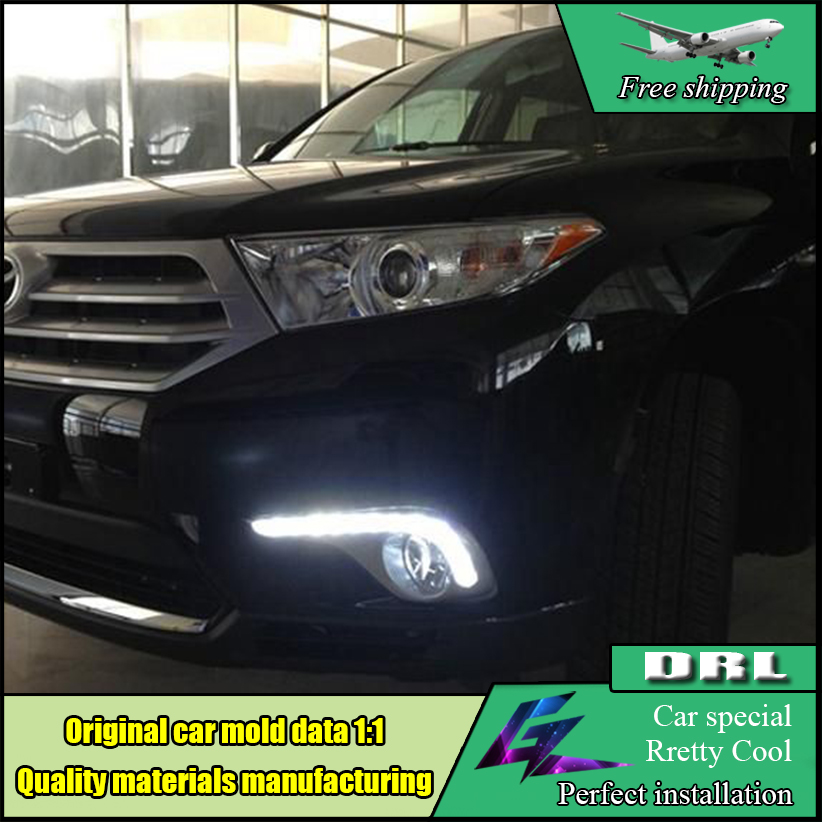 Car Styling LED DRL For Toyota Highlander 2012 2013 2014 Car LED Daytime Running Light Fog Lamp Frame Auto Day Driving Lamp DRL lyc fog light universal led for car lights car led driving lamps daytime running light switch automatic for toyota drl led lamp