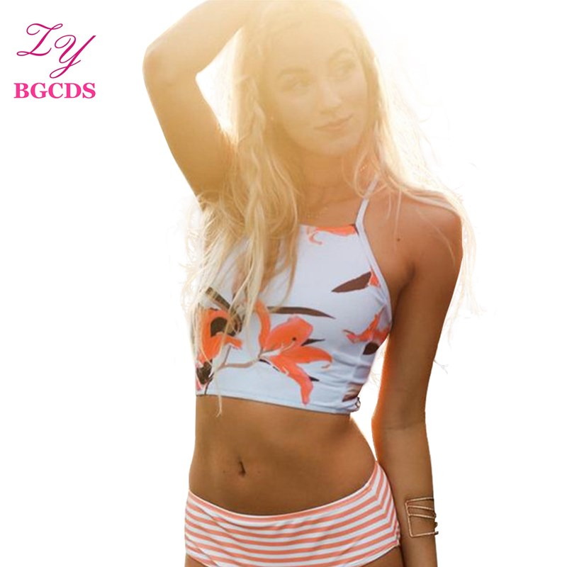 Sleeveless Bikini Set Tankini Swimwear Women Swimwuit Flower Striped Swimming Suit for W ...