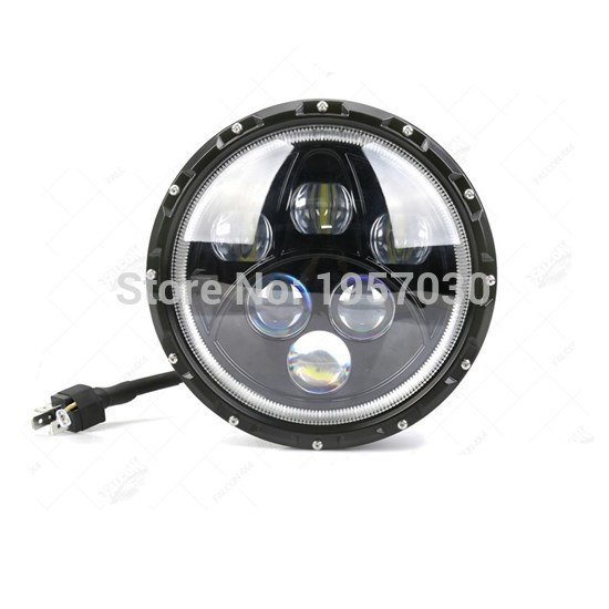 1piece 7inch 60w Round led headlight 12V-24V DC High Low Beam With Blue Yellow DRL For Wrangler JK Harley Motorcycle 7 inch led headlight 7 60w round high