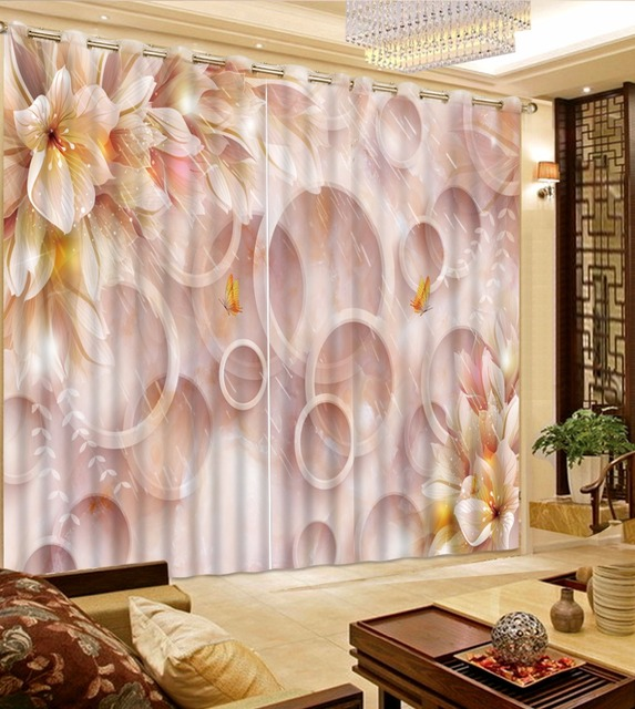 Elegant Flower Circle Curtain Window 3D Pink Curtains For Children Refind Lifelike Marble Blackout Drapes