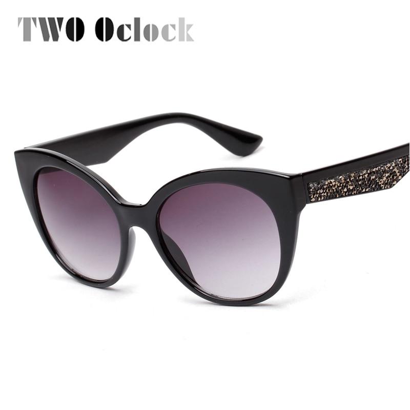 7a35d86f8 اثنين كلوك مثير الإناث القط العين النظارات الشمسية المرأة العلامة التجارية  مصمم خمر نظارات شمسية للمرأة المتضخم حجر الراين Oculos 15072