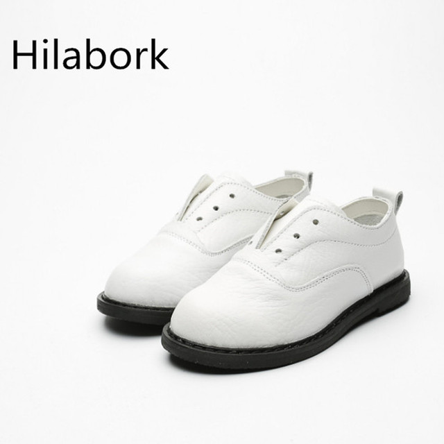 2017 spring new girls shoes leather children leather shoes round elastic band flat soft dough performance shoes black and white