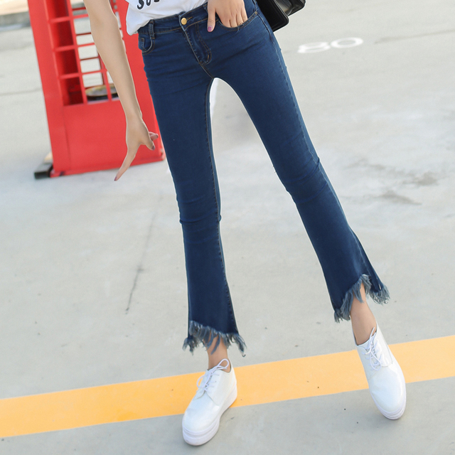 Spring Slim Mid Waist Flare Jeans Plus Size Stretch Skinny Denim Jean Tassel  Bell-Bottom Ankle length Pants  irregular Jeans