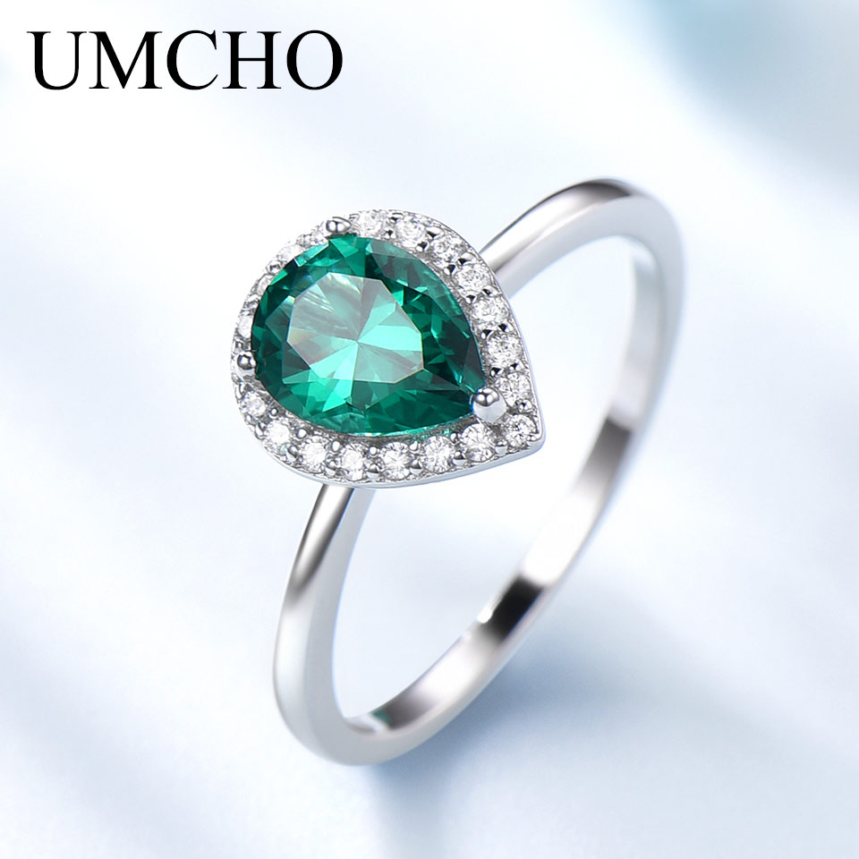 UMCHO Romantic Water Drop Created Emerald Rings 925 Sterling Silver For Women Birthday Gift Fine Jewelry