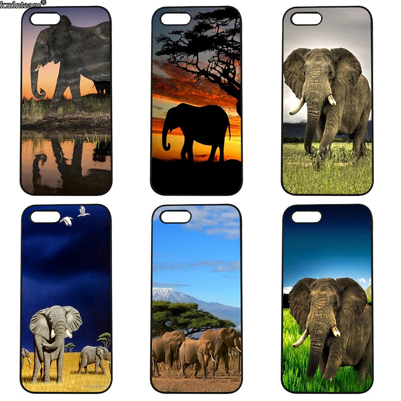 Mobile Phone Case Elephant Hard Anti-knock Half Wrapped Cover Fitted for iphone 8 7 6 6S Plus X 5S 5C 5 SE 4 4S iPod Touch 4 5 6