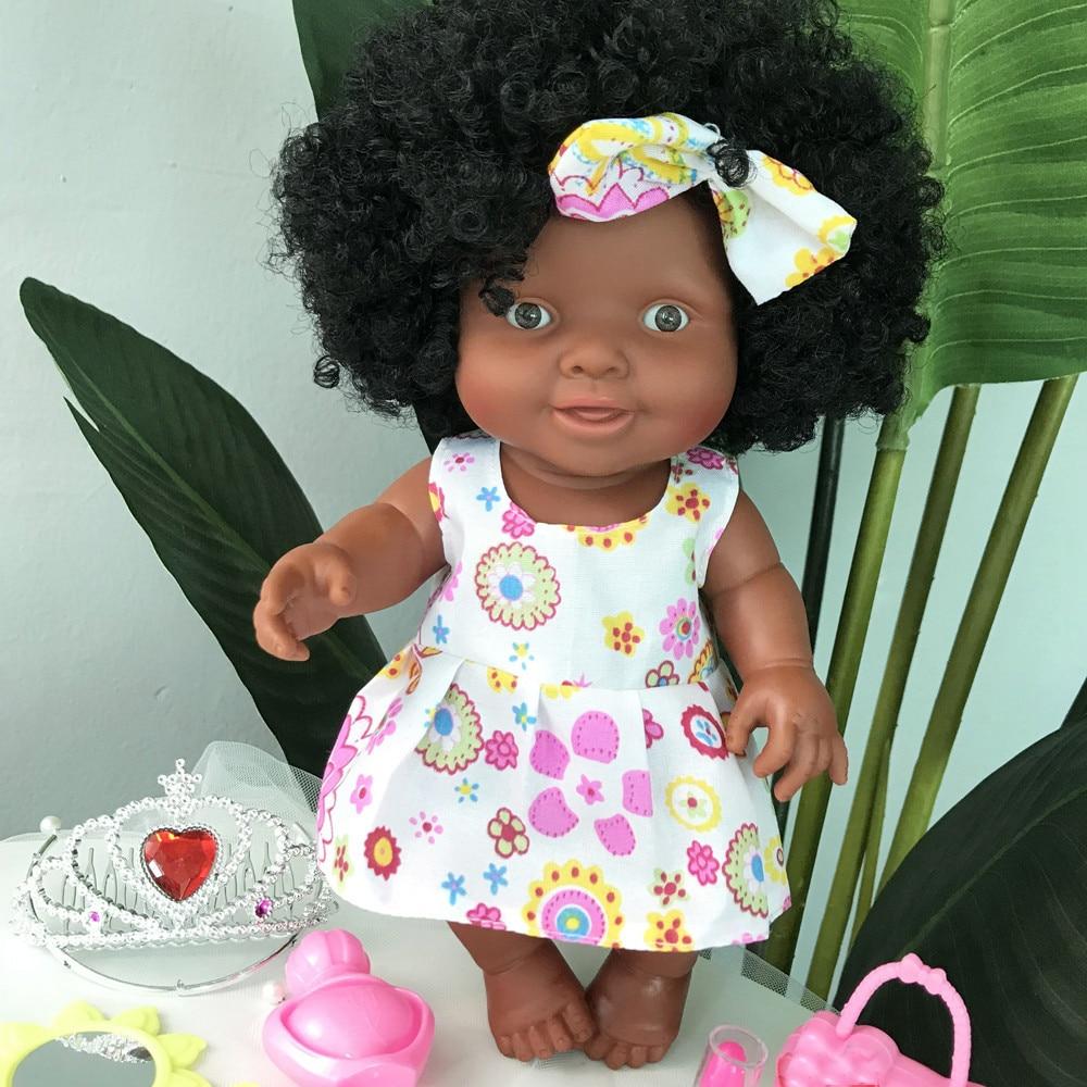 2019 bebê móvel conjunto africano boneca brinquedo boneca preto melhor crianças divertido brinquedo presente de natal presente para meninas menina boneca # yd11227