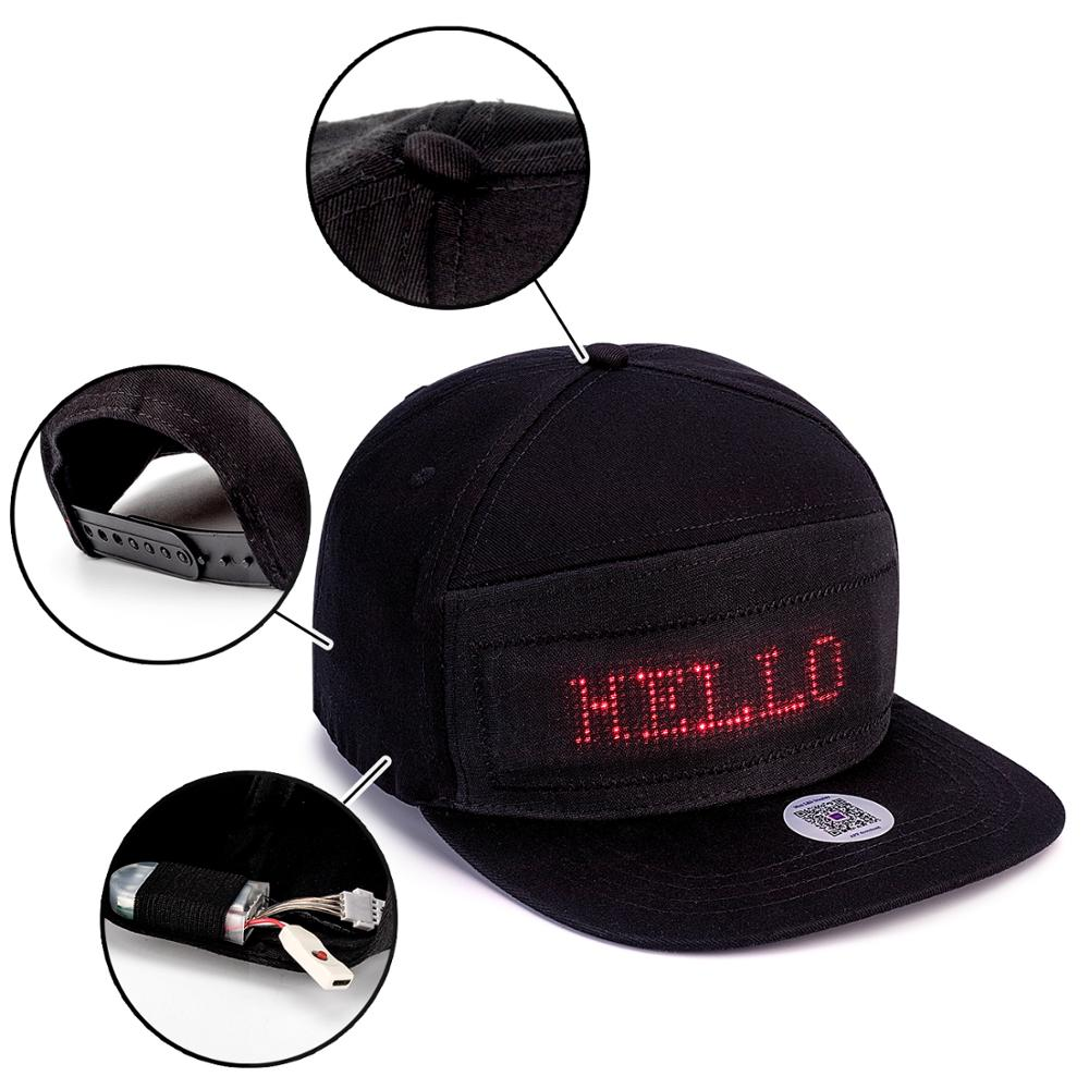 Black Hip Hop DJ Sports Summer Sunshade Hat Men's And Women's Bars Show Bluetooth Led Advertising Display Hat