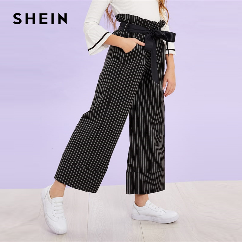 SHEIN Black Girls Vertical Striped Belted Casual Pants Girls Leggings 2019 Spring Fashion Wide Leg Pants Korean Kids Clothes