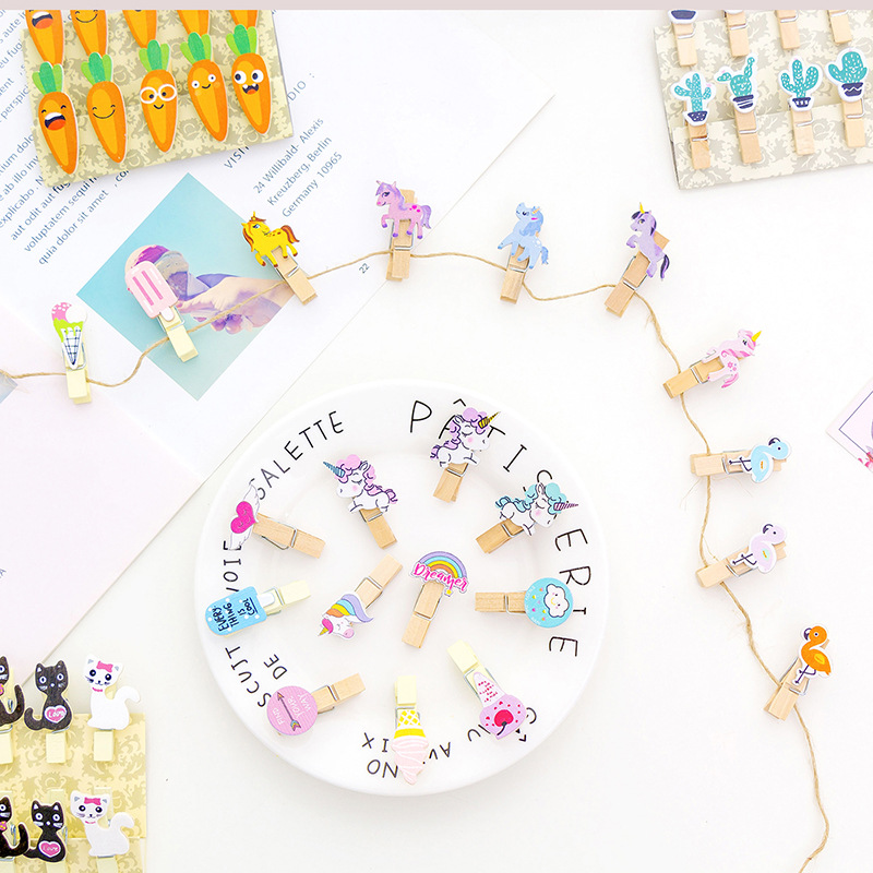 10Pcs Creative Kawaii Mini Spring Wooden Clips Unicorn Flamingo Colored Clips For Decorations Paper Photo Girl Office Stationery