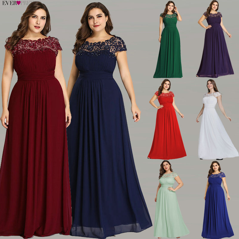 Ever Pretty Plus Size Evening Dresses 2020 New Arrival Elegant A Line Chiffon Open Back Long Lace Formal Party Gowns EP09993