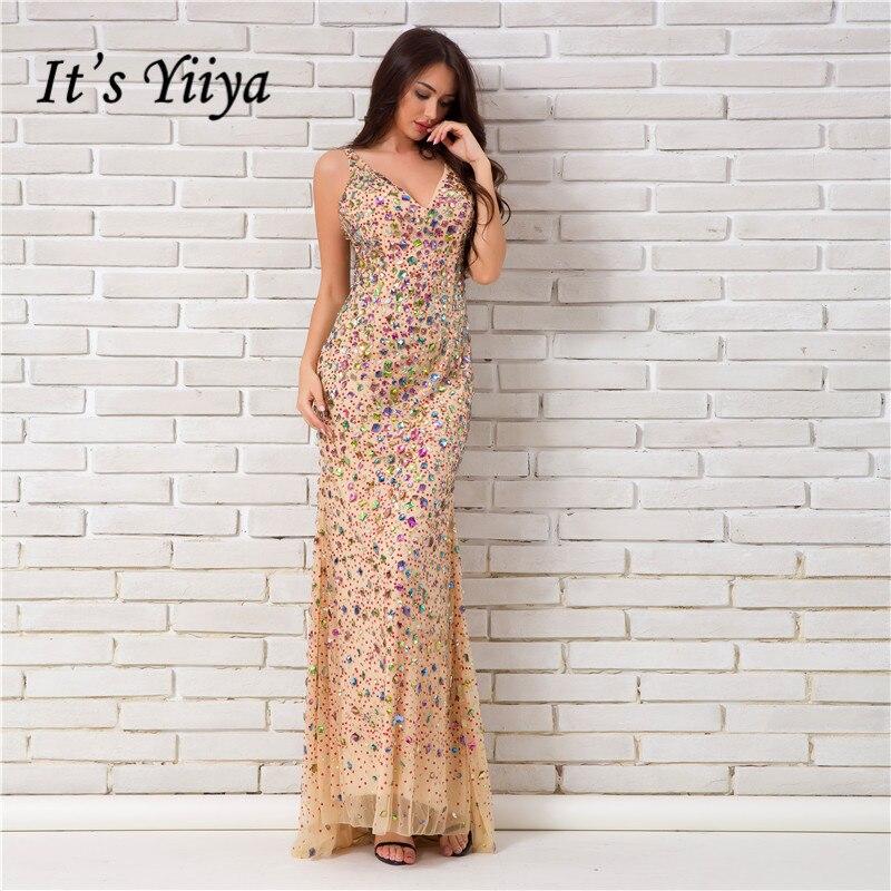 37be6da4c69748d Это YiiYa без рукавов с v-образным вырезом спинки Bling блестками молнии  узор Вечерние платья пол Длина Труба вечернее платье WY014