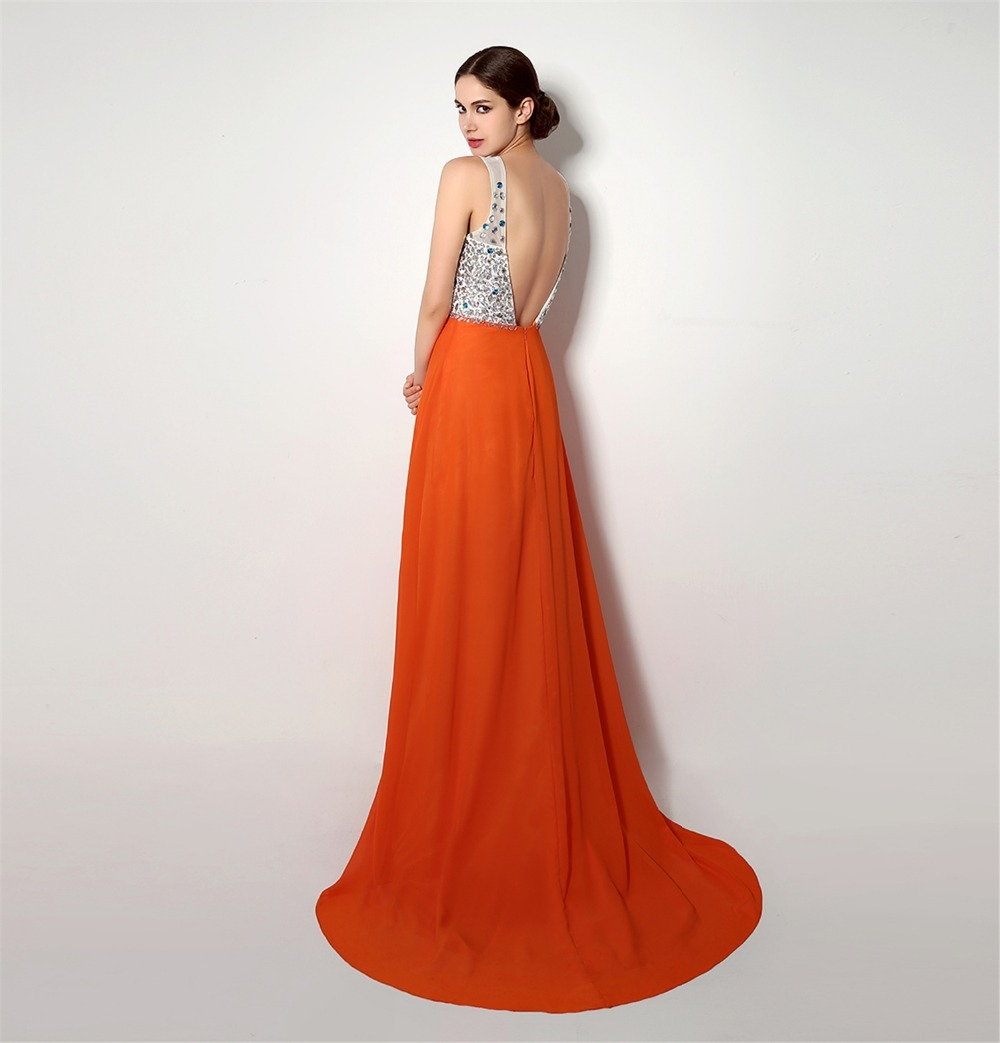 2018 backlackgirl elegant beautiful hot long sleeveless Deep V Neck Beading  Top Front Skirts Slit Prom Evening Dress as pictures-in Bridesmaid Dresses  from ... d4e0a935b858