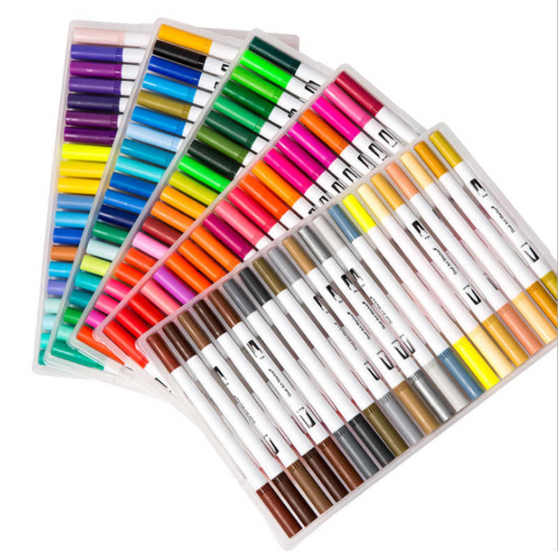 72/100 colores de doble cabeza de artista Sketch acuarela pincel Set para Comics dibujo diseño pinturas arte marcador escuela suministros